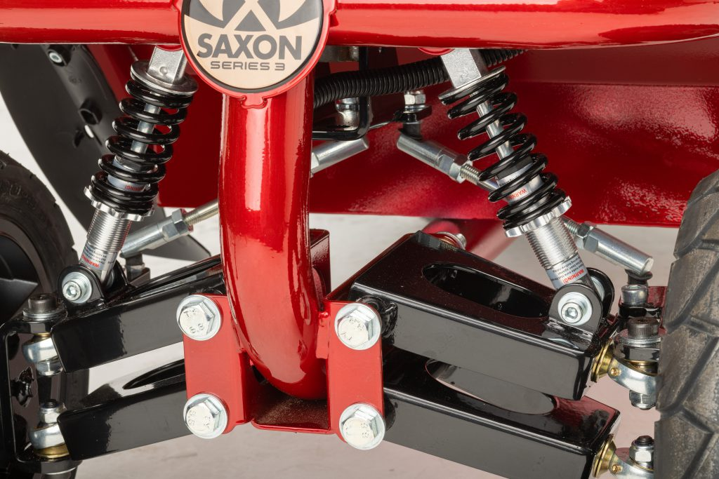 Saxon mobility scooter showing front suspension