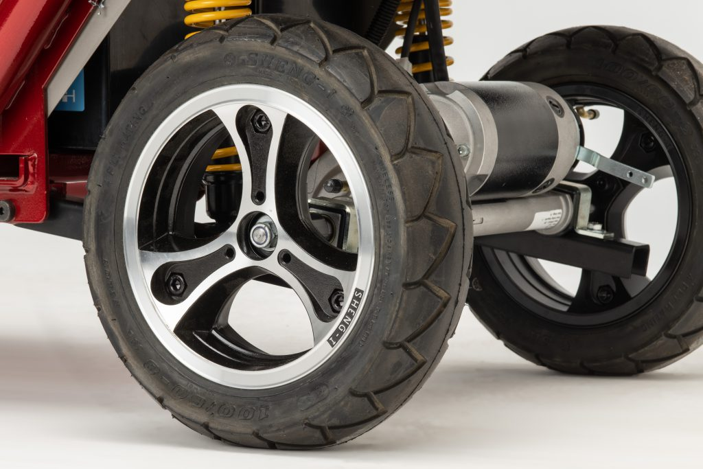 Close up of road wheels on Saxon mobility scooter