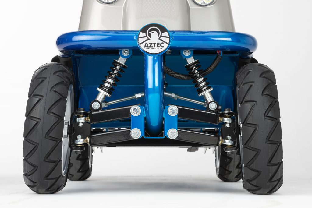 Close up image of Aztec mobility scooter showing tubular framing and tyres